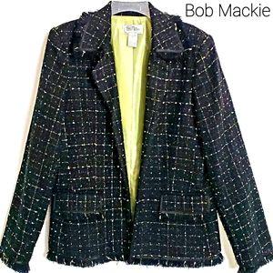 NWOT Bob Mackie Black/Grn Tweed Longsleeve Blazer